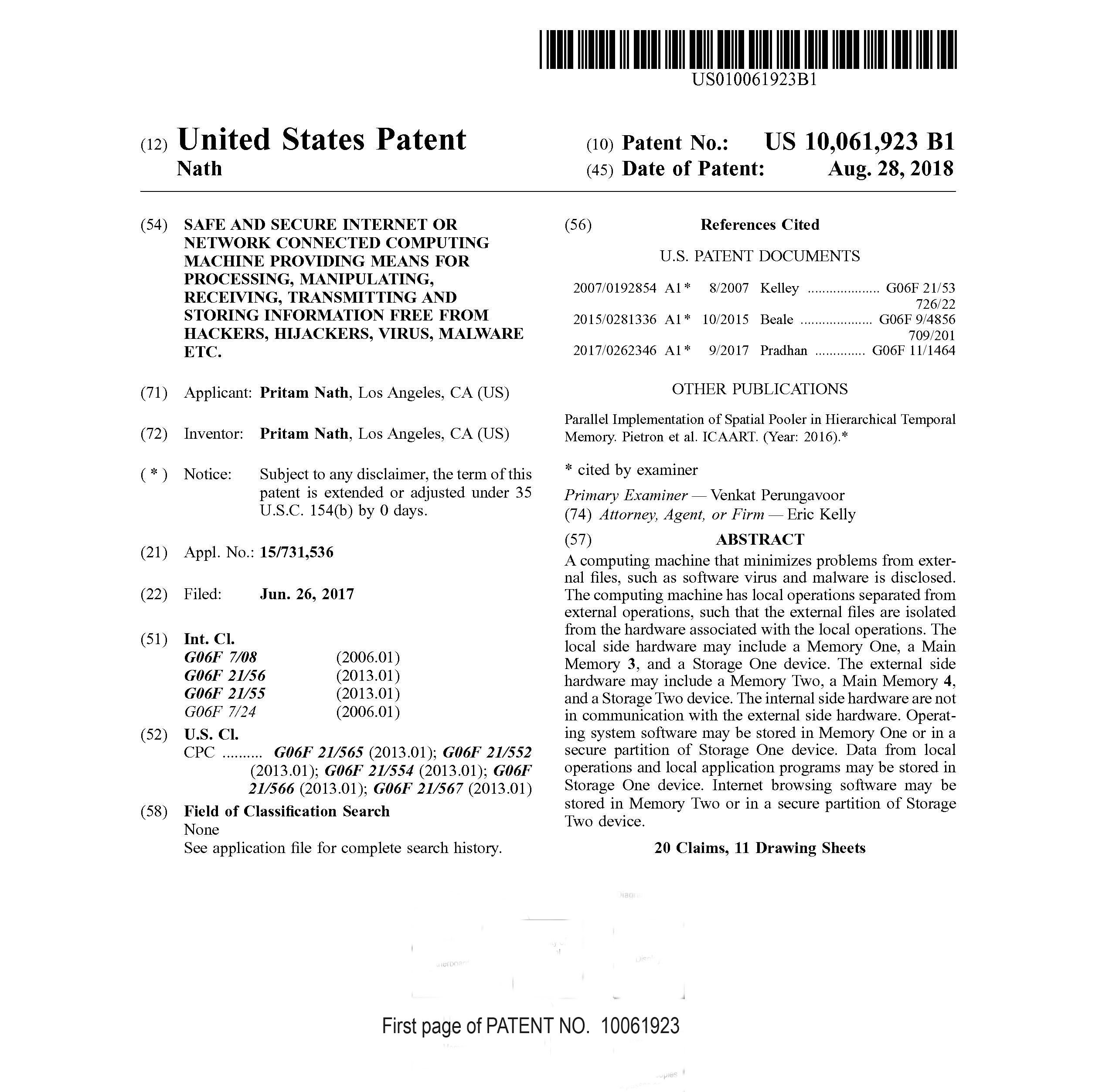 Patent 10061923 First Page NoDiag copy